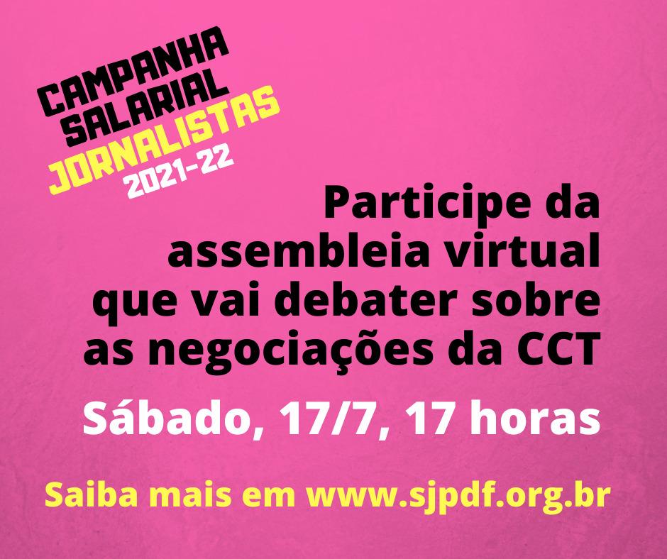 Assembleia Virtual neste sábado, 17/07, discute proposta patronal para CCT 2021